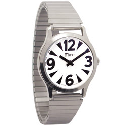 Mens Low Vision Manual Watch-White-Chrome-Expansion