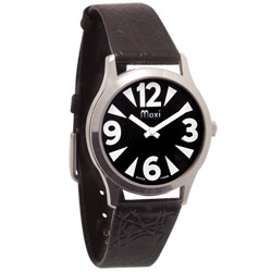 Mens Low Vision Manual Watch-Blk-Chrome-Leather