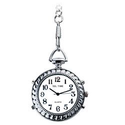 Tel-Time Low Vision Talking Chrome Pocket Watch