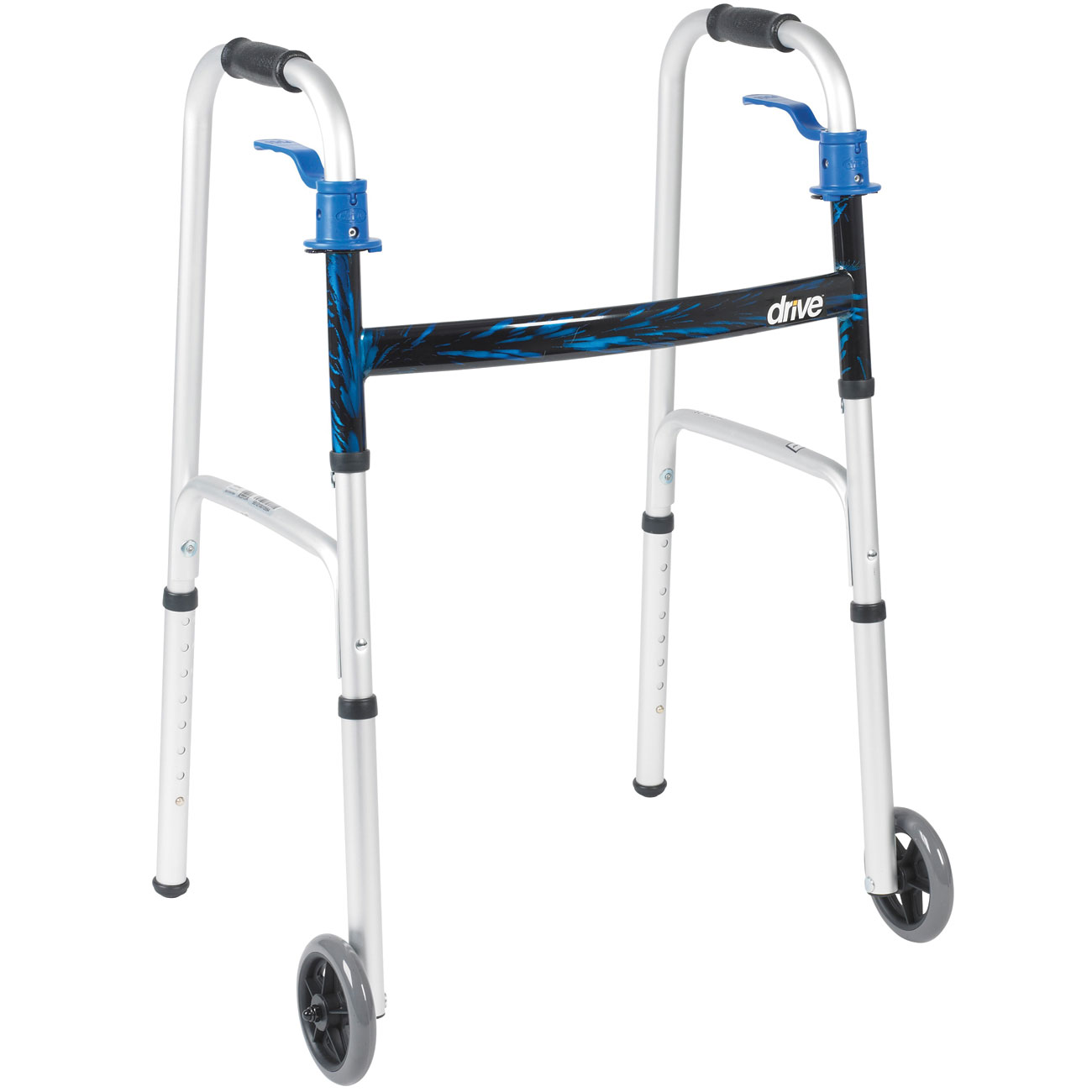 Deluxe Trigger Release Folding Walker with 5 in. Wheels