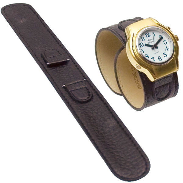 Reizen Black Leather Wrap Around Watch Band- Mens