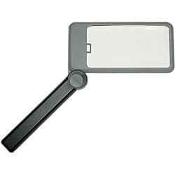 Click for larger version of Bausch and Lomb 2X Folding Lighted Magnifier Rectangular 2 inch by 4 inch with Carry Case